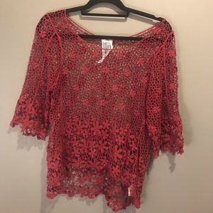 Free People Red Lace Top M/L